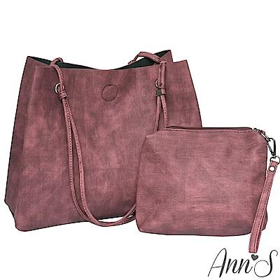 Ann'S訂製雲彩皮革肩背大容量托特包-紅(附手拿包)