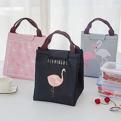 可愛紅鶴手提便當袋 保溫袋 手提袋 購物袋(2入組)