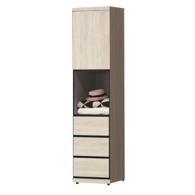 綠活居 法列德 現代1.5尺開門三抽衣櫃/收納櫃-45x57x202cm免組