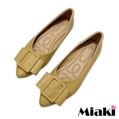 Miaki-娃娃鞋素面方扣低跟平底鞋-黃