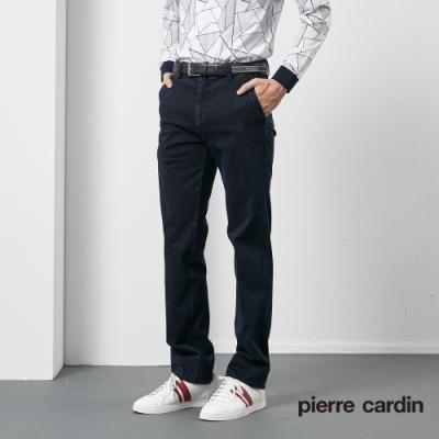 Pierre Cardin皮爾卡登 男裝  彈性平口牛仔休閒長褲-深藍色(5205822-38)