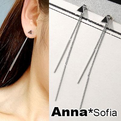 AnnaSofia 黑釉小三角垂雙柱墬 後掛墬耳針耳環(銀系)