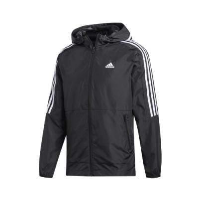 adidas 外套 3-Stripes Jacket 連帽 男款 愛迪達 三線 運動休閒 防風 風衣 路跑 黑 白 FT2835