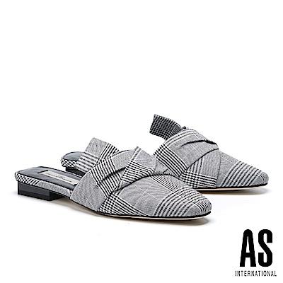 拖鞋 AS 抓皺紐結造型千鳥格紋布面穆勒低跟拖鞋-格紋