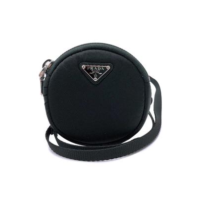 [時時樂限定]PRADA 銀三角logo尼龍圓形運動臂包斜背萬用袋(1TT129-黑)