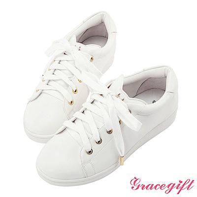 Grace gift-美少女戰士立體貓耳飾釦休閒鞋 白