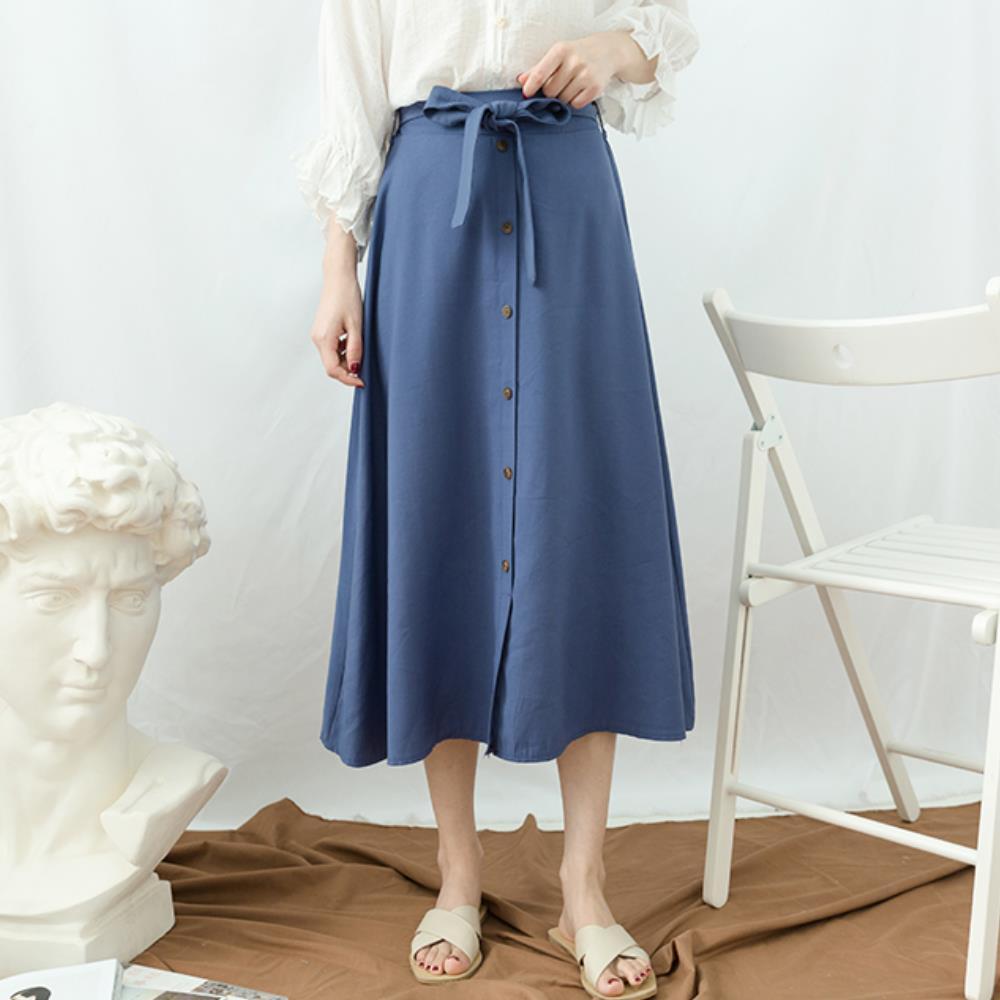 La Belleza排釦鬆緊腰綁帶下擺開叉大擺裙中長裙