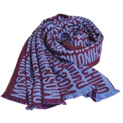 MOSCHINO 義大利製品牌繽紛字母LOGO圖騰100%羊毛寬圍巾(酒紅系)