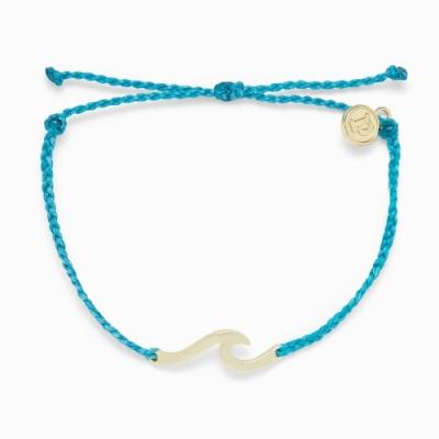 Pura Vida 美國手工 HAMMERED WAVE 金錘WAVE 太平洋藍蠟線衝浪手鍊手環