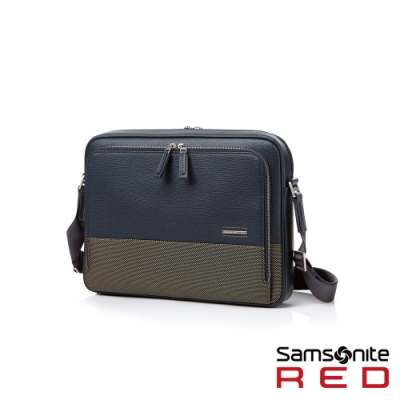 Samsonite RED DAWONE 商務皮革筆電肩背包13吋(海軍藍)