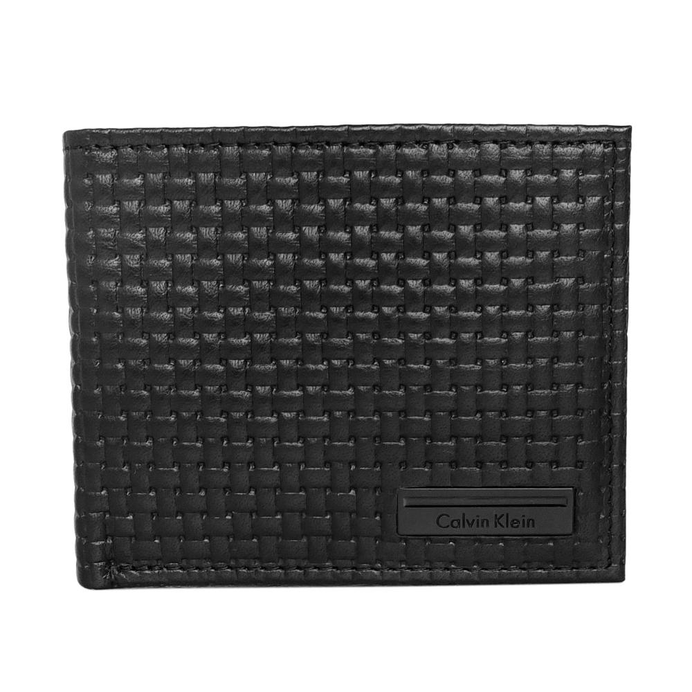 Calvin Klein黑色質感編織真皮附活動卡夾雙折短夾