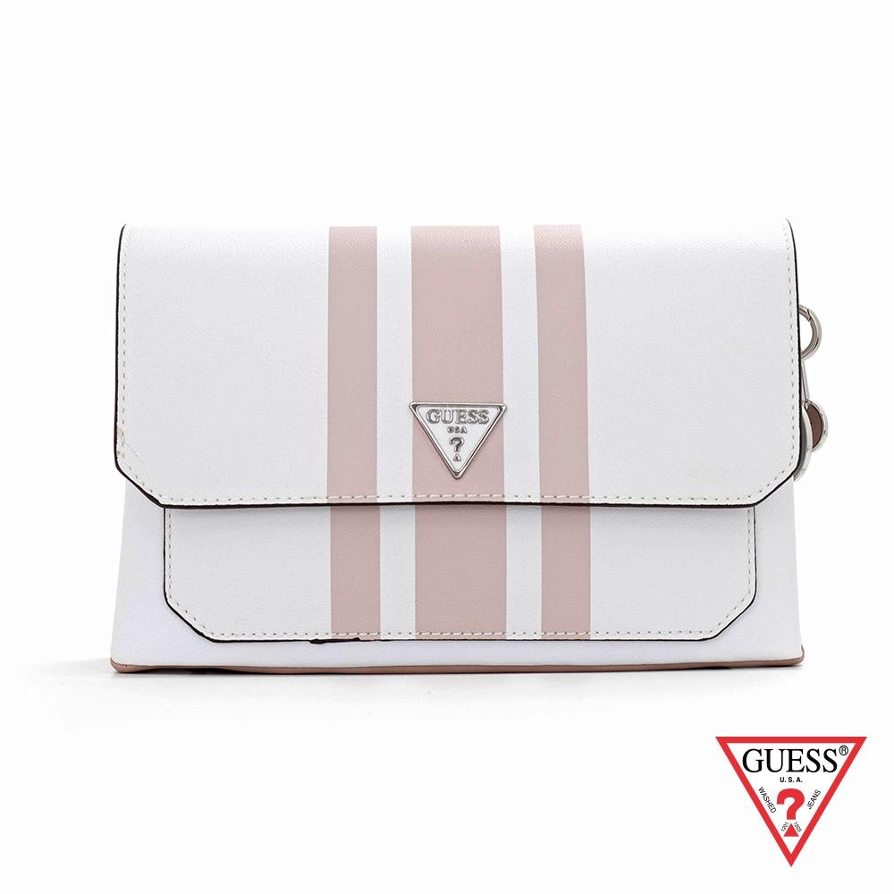 GUESS-女包-簡約線條質感斜背包-白 原價3290