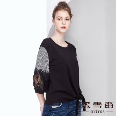 【麥雪爾】棉質條紋拼接蕾絲綁帶上衣