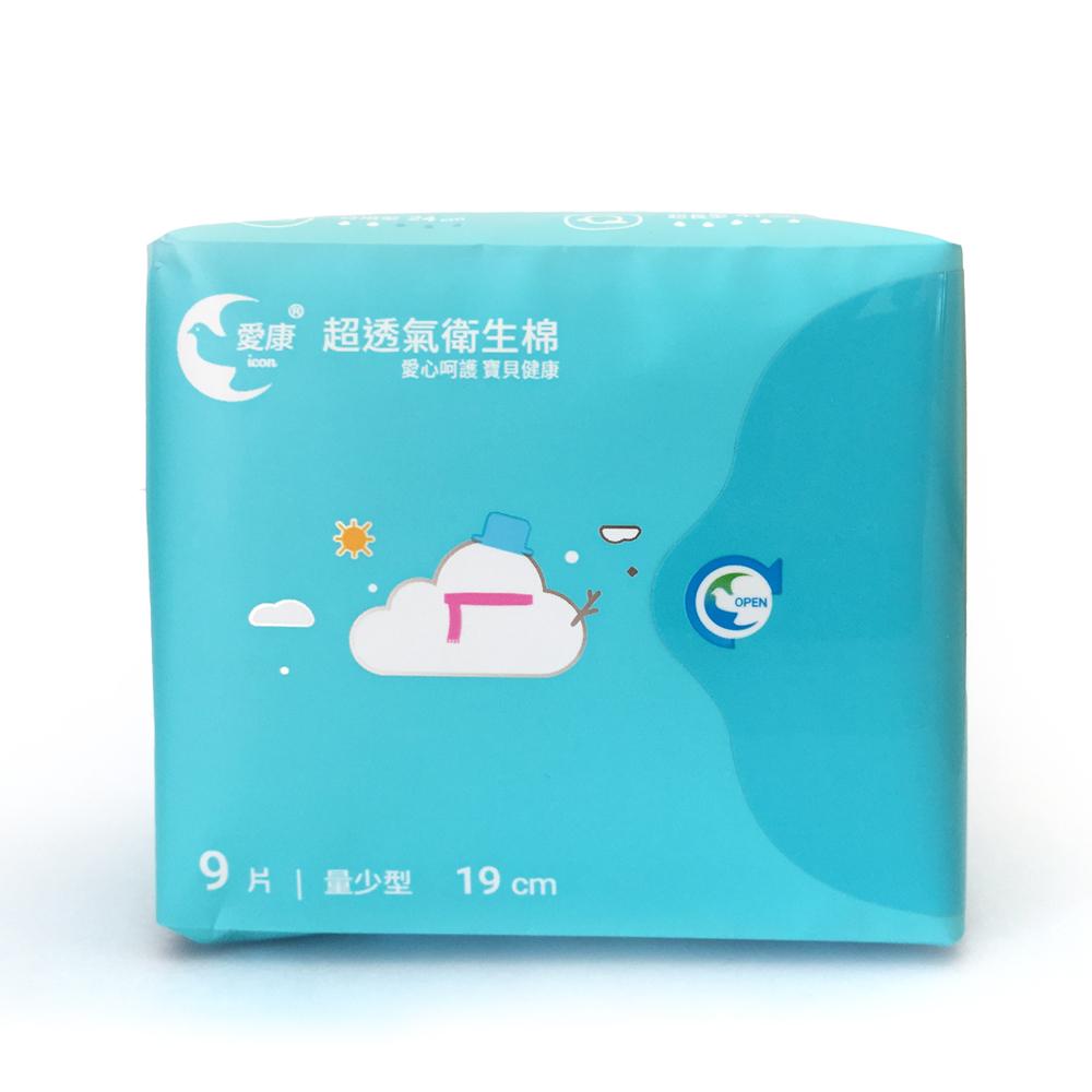 愛康 超透氣衛生棉 19cm量少型 9片