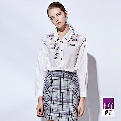 ILEY伊蕾 三色幾何刺繡純棉襯衫上衣(白)