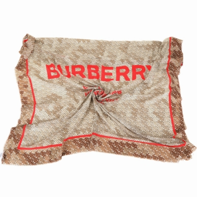 BURBERRY Horseferry TB滿版印花字母絲質披肩圍巾(米咖色)