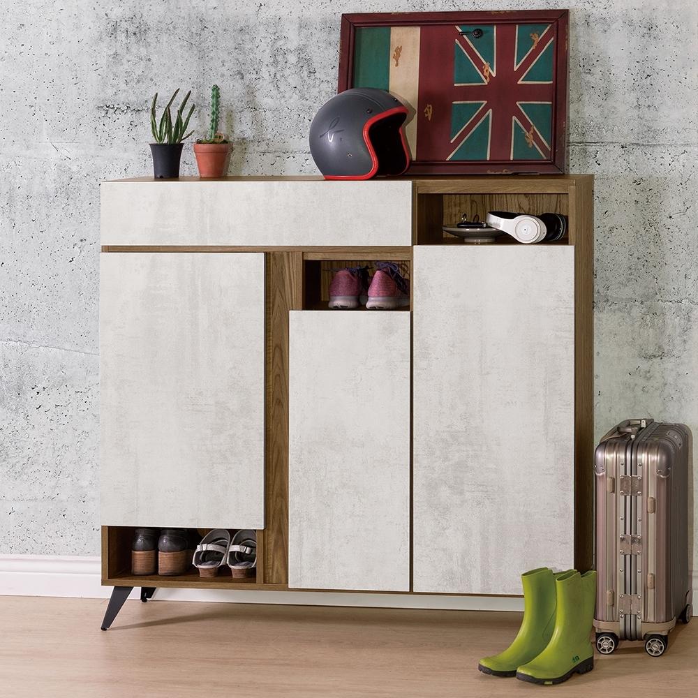 D&T 德泰傢俱 DINO清水模風格4尺鞋櫃-120x32x119.5cm