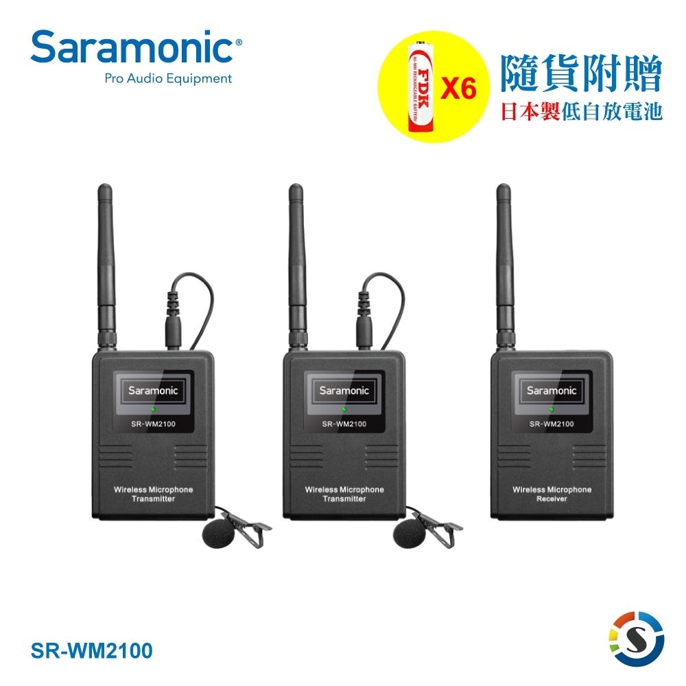 Saramonic楓笛 SR-WM2100 一對二2.4GHz無線麥克風套組