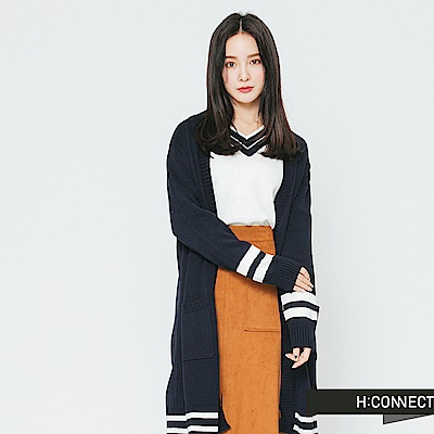 H:CONNECT 韓國品牌 女裝-滾邊雙口袋開襟外套-藍