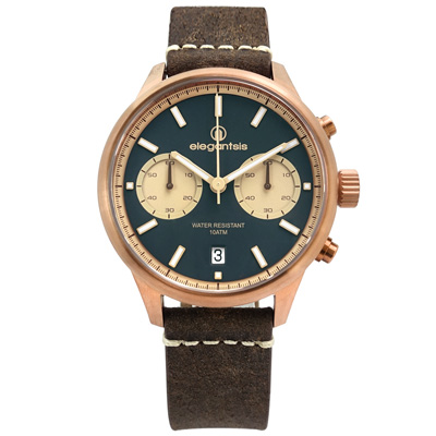 elegantsis 計時日期防水100米 真皮手錶 藍x古銅金框x深褐/43mm