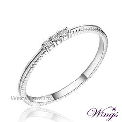 Wings 星空 纖細美麗的優雅 精鍍白K金戒指 尾戒