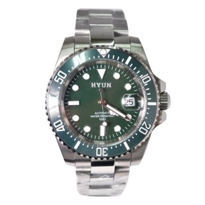 HYUN 白鋼男士設計精品錶-綠