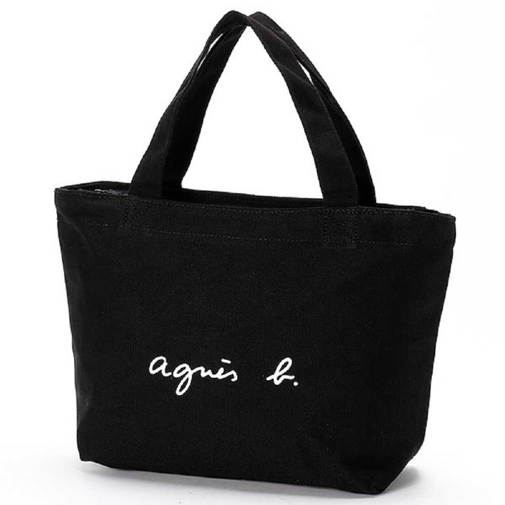 agnes b. Voyage 帆布 logo 小型托特包 (黑)