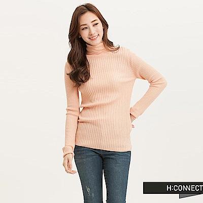 H:CONNECT 韓國品牌 女裝-粗羅紋高領針織上衣-粉(快)
