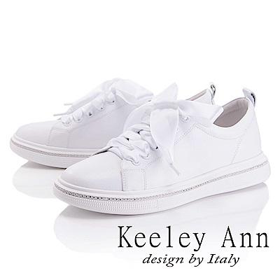 Keeley Ann 甜美氣息~蝴蝶緞帶水鑽繞邊休閒鞋(白色-Asin系列)