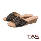 TAS 閃耀水鑽幾何鏤空一字涼拖鞋-人氣黑
