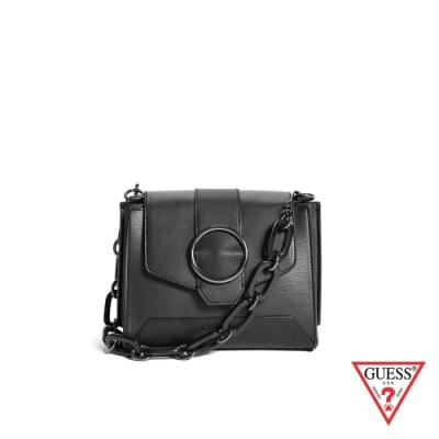 GUESS-女包-時尚圓環粗鍊條斜背包-黑 原價3090