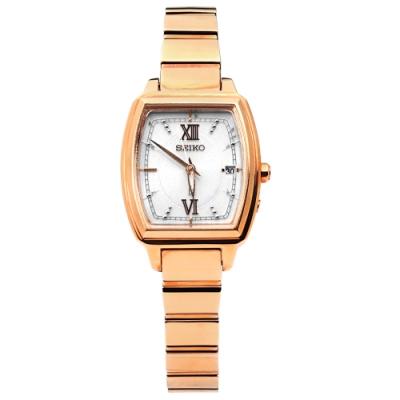 SEIKO 精工 LUKIA 太陽能 電波 不鏽鋼手錶-銀x鍍玫瑰金/25mm