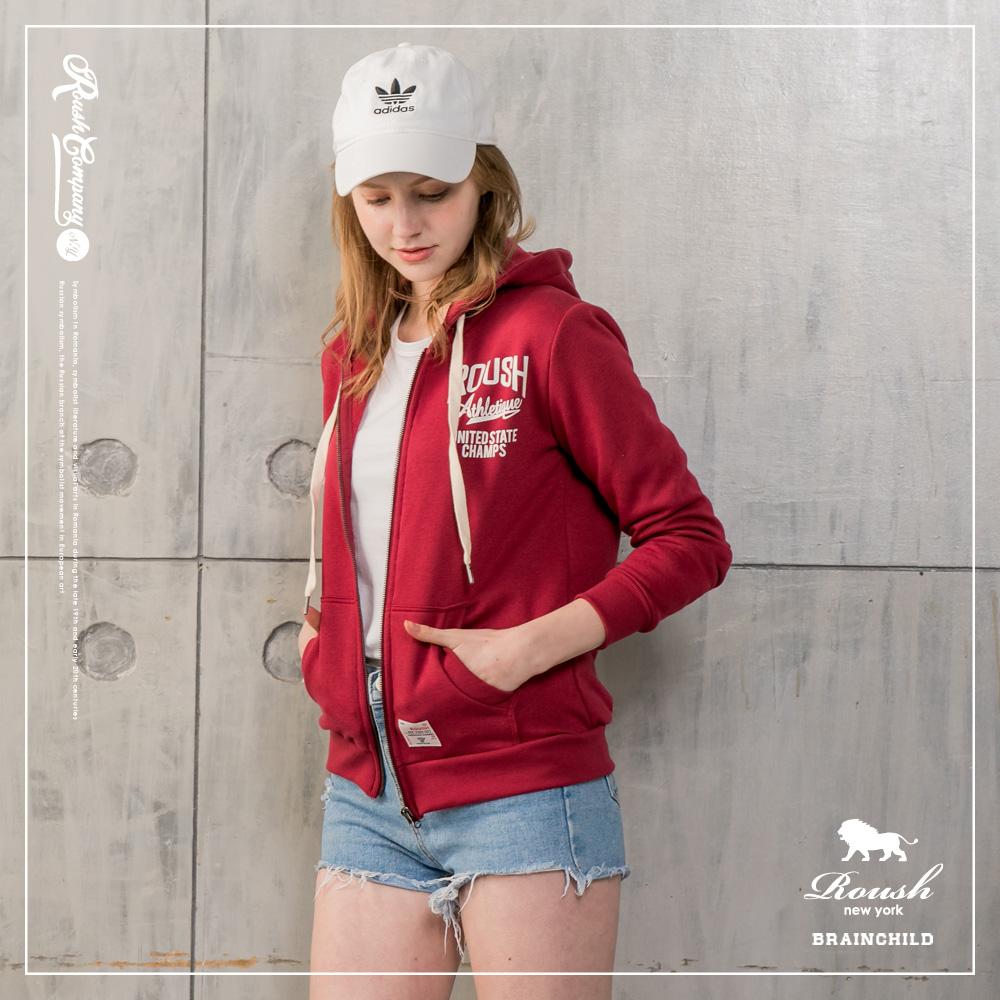 Roush 女生美式膠印刷毛連帽外套(3色)[情人節送禮推薦]