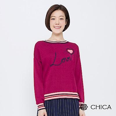 CHICA 心心相映字母愛心刺繡針織衫(2色)