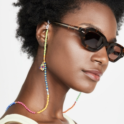 梨花HaNA 五種功能AIRPOD耳機口罩墨鏡防丟項鍊.熱帶雨林彩色流蘇項鍊多用途