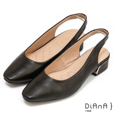 DIANA 4cm–柔軟羊皮環踝伸縮帶尖頭穆勒涼鞋-黑
