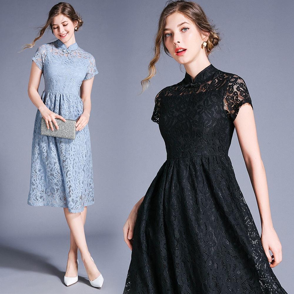 時尚中式小立領盤釦蕾絲緹花洋裝L-2XL(共二色)M2M