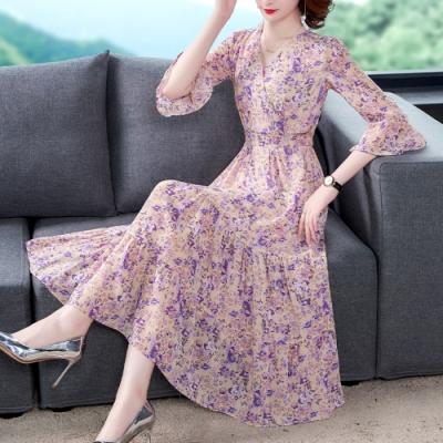 浪漫杏粉紫碎花交叉V領蛋糕裙長洋裝S-2XL-REKO