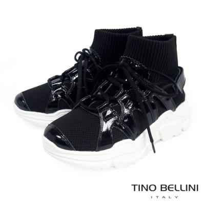 Tino Bellini 潮流時尚真皮mix布料休閒襪鞋_黑