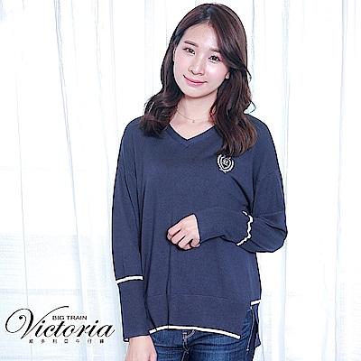 Victoria 條紋撞色寬鬆長袖線衫-女-灰藍