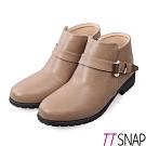 TTSNAP短靴-MIT率性單釦帶低跟踝靴 駝
