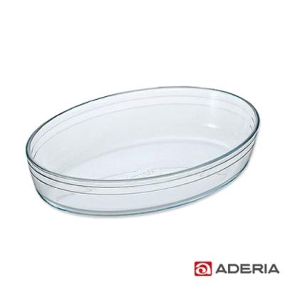 ADERIA 日本進口耐熱玻璃橢圓薄型烤盤(大)