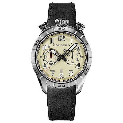 BOMBERG 炸彈錶 BB-68 系列飛行計時碼錶-黑色錶帶/44mm