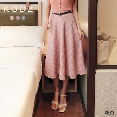 東京著衣-KODZ 優雅韓妞撞色格紋多色傘狀中長裙(共三色)