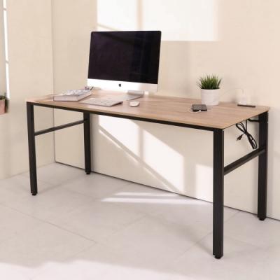 BuyJM 低甲醛漂流木色附筆筒插座160公分穩重工作桌160x60x79公分