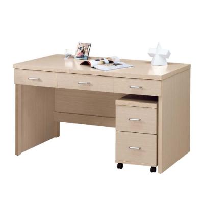 柏蒂家居-波特白橡色5尺書桌組(三抽書桌+二抽活動櫃)-151x58x81cm
