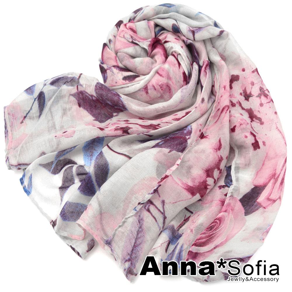 AnnaSofia 菲葉瑰影 巴黎紗披肩圍巾(藍紫紅色)