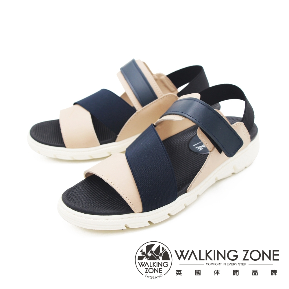 WALKING ZONE (女)彈力帶厚底增高涼鞋-藍(另有咖)