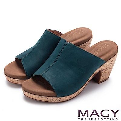 MAGY 夏日簡約風 一字寬版牛皮粗跟涼拖鞋-綠色