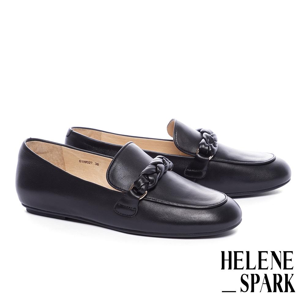 平底鞋 HELENE SPARK 簡約麻花編織條帶羊皮樂福平底鞋-黑